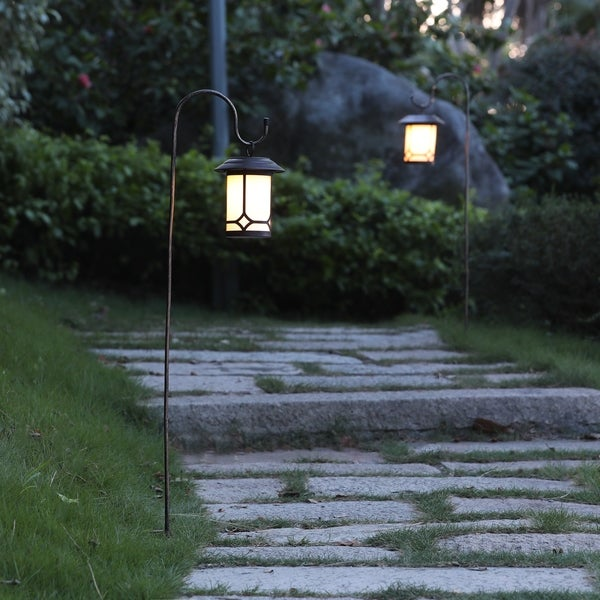 HuntingtonClassical Hanging Solar Lanterns with Shepherd's Hooks (Set of 2) by Havenside Home