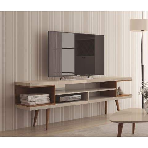 Carson Carrington Nynashamn 70.47-inch TV Stand with Splayed Wooden Legs and 4 Shelves