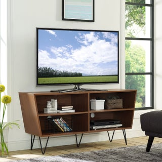 """52"""" Mid-Century Angled Side TV Stand Console - 52 x 16 x 25h"""
