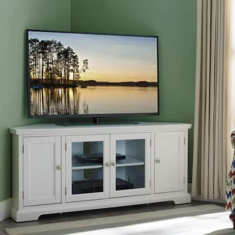 Copper Grove Hoxie White Wood/ Glass Corner TV Console