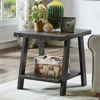 Porch & Den Botanical Heights Vandeventer Contemporary Replicated Wood Shelf End Table