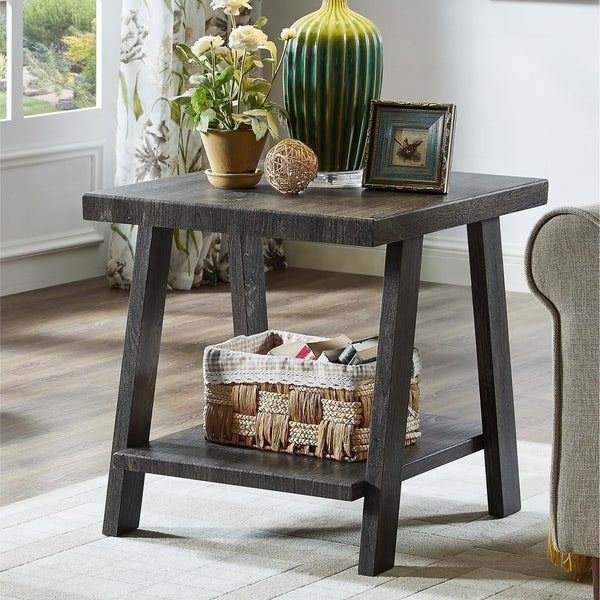 The Gray Barn Cedar Ridge Contemporary Replicated Wood Shelf End Table