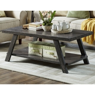 The Gray Barn Cedar Ridge Contemporary Replicated Wood Shelf Coffee Table