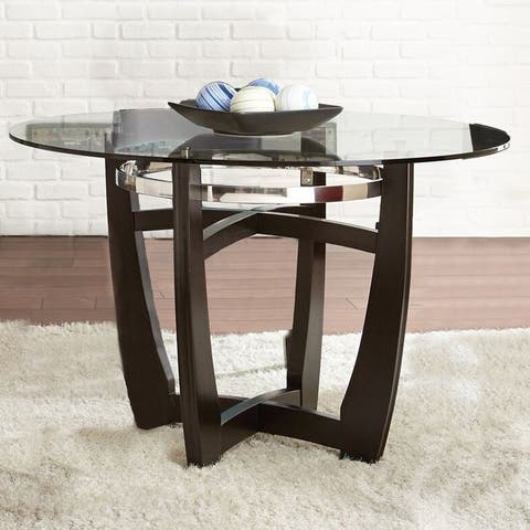 Strick & Bolton Holland 48-inch Glass Top Dining Table - Black