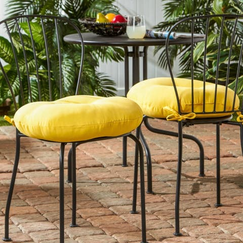 Driftwood 18-inch Round Outdoor Yellow Bistro Chair Cushion (Set of 2) by Havenside Home - 18w x 18l