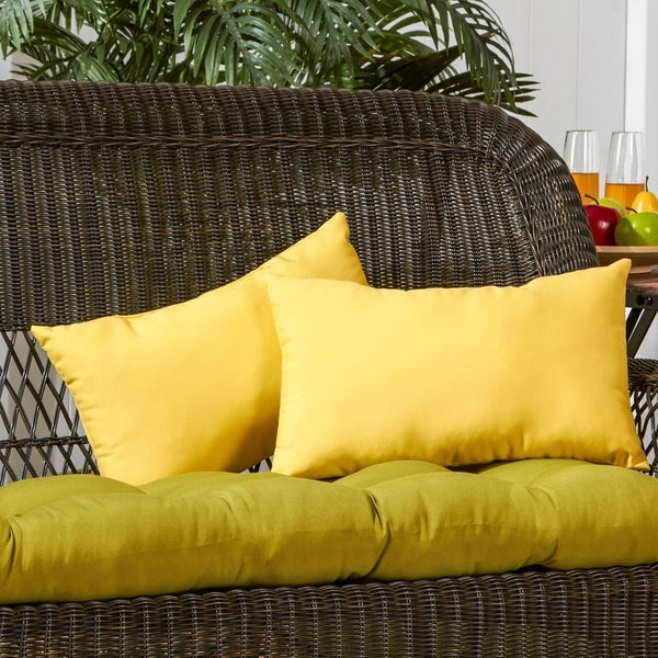 Driftwood 19x12-inch Rectangular Outdoor Yellow Accent Pillows (Set of 2) by Havenside Home - 12h x 19l. Opens flyout.