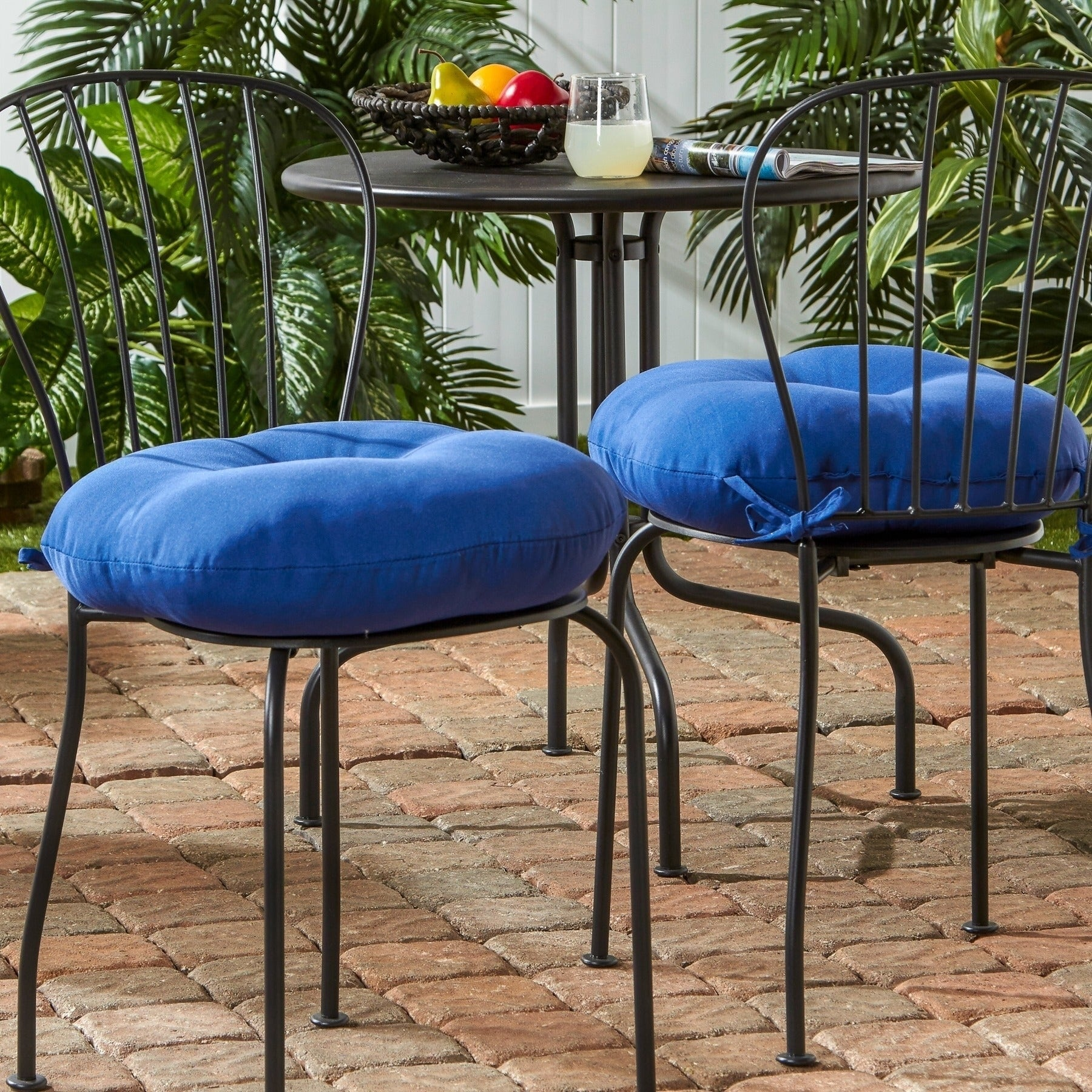 Driftwood 18 Inch Round Outdoor Marine Blue Bistro Chair Cushion Set Of 2 By Havenside Home 18w X 18l Overstock 22751555