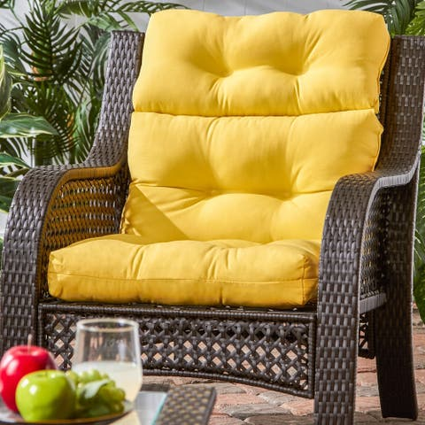 Driftwood 44x22-inch 3-section Outdoor Yellow High Back Chair Cushion by Havenside Home - 22w x 44l
