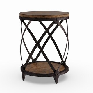 Oliver & James Canova Distressed Pine Wood Round End Table