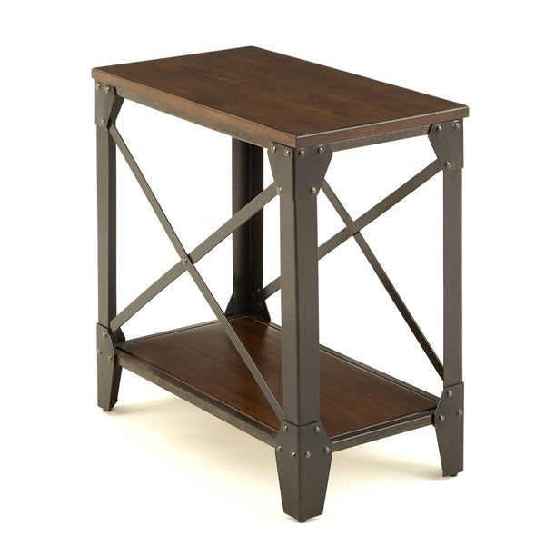 Carbon Loft Fischer Solid Wood and Iron Rustic Chairside Table
