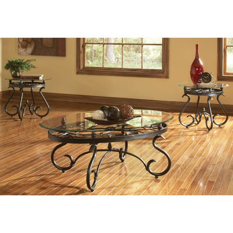 Gracewood Hollow Fishta Antique Brass Metal/ Glass 3-piece Table Set