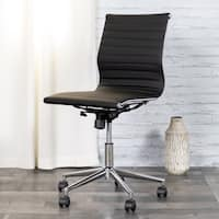 Porch & Den Mary's Peak Chrome and Leather Ribbed Conference Chair