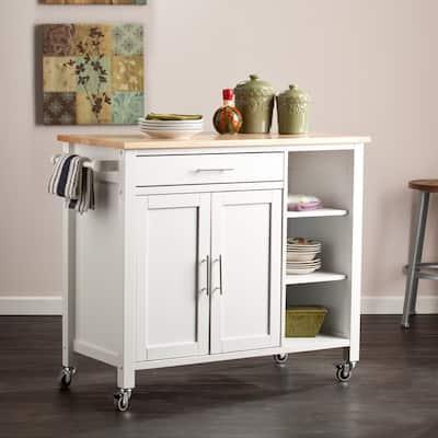 The Gray Barn Oriaga White Kitchen Cart