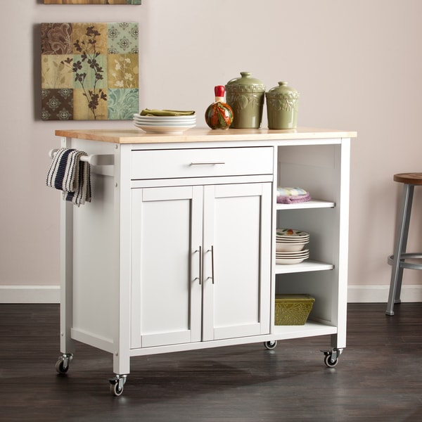The Gray Barn Oriaga White Kitchen Cart