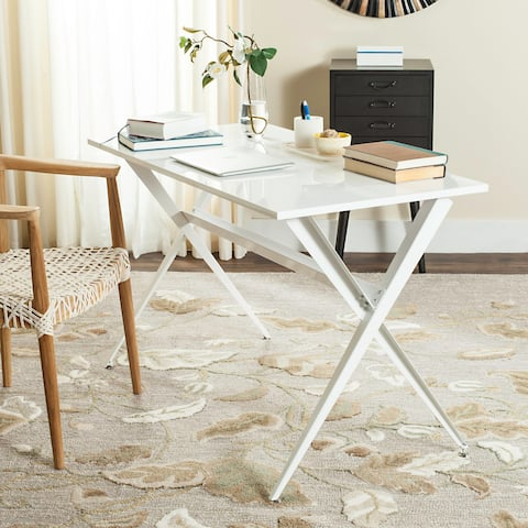 The Curated Nomad Tachevah Mid-century Modern White Desk