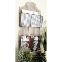 The Gray Barn Jartop Wood/Metal Two-tier Wire Wall Basket