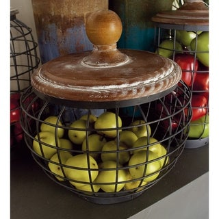 Rustic 11 x 10 Inch Fir Wood and Metal Cage Jar by Studio 350