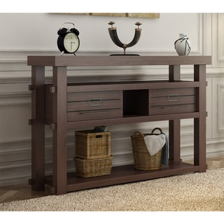 "Furniture of America Sylvan Rustic Plank Style Espresso 2-drawer Console Table - 47.25""L x 15.6""W x 33.74""H"