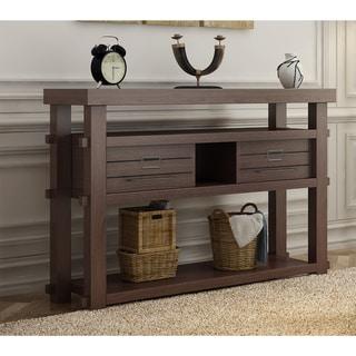 "Furniture of America Sylvan Rustic Plank Style Espresso 2-drawer Console/Sofa Table - 47.25""L x 15.6""W x 33.74""H"