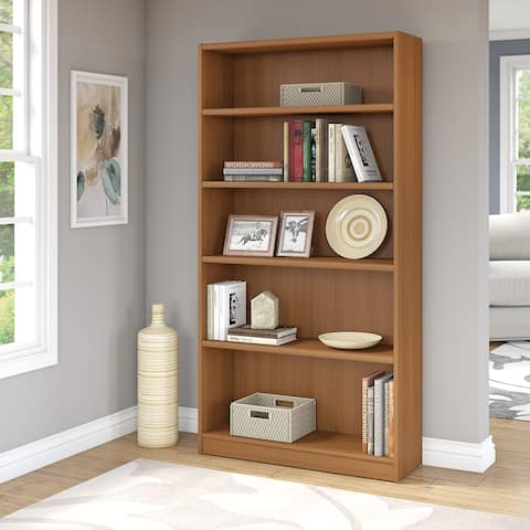 "Porch & Den Colony 5-shelf Bookcase in Royal Oak Finish - 36.93""L x 11.69""W x 71.65""H"