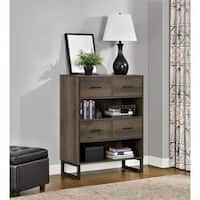 Clay Alder Home Taft Mocha Oak Bookcase with Bins
