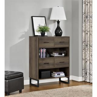 Clay Alder Home Taft Mocha Oak Bookcase with Bins