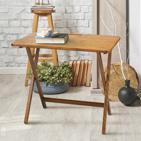 Copper Grove Goosefoot Red Oak Folding TV Tray Table