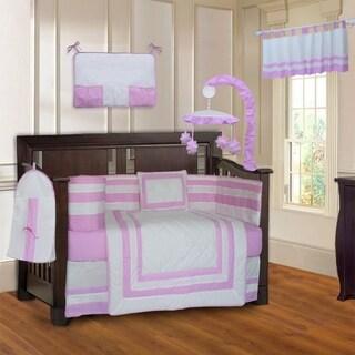 BabyFad Modern Quilted Pink 10-Piece Crib bedding set