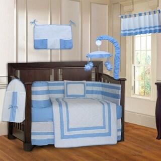 BabyFad Modern Quilted Blue 10-Piece Crib Bedding set