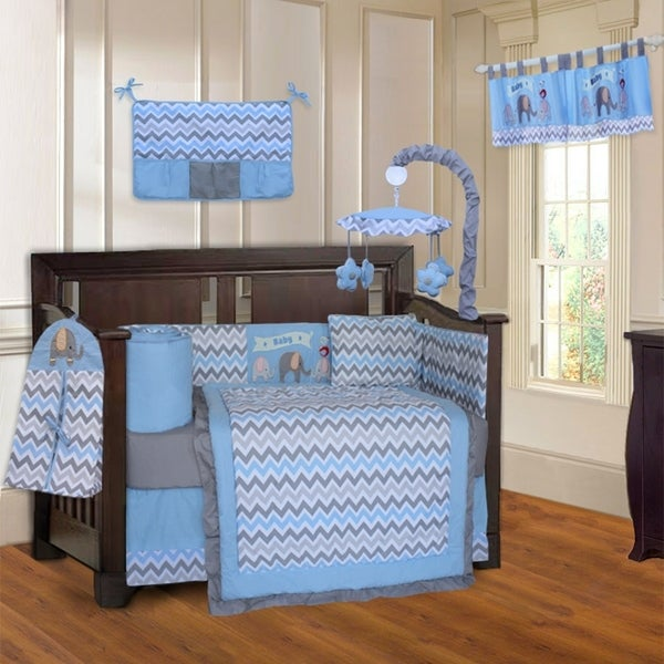 BabyFad Elephant ZigZag Blue 10-Piece Crib Bedding