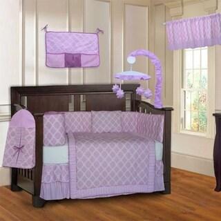 BabyFad Quatrefoil Clover Pink 10-Piece Crib Bedding set