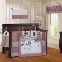 BabyFad Owl Pink 10-Piece Crib Bedding Set
