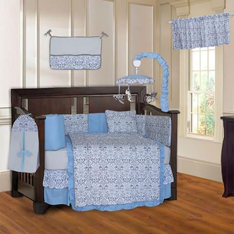 BabyFad Damask Blue 10-Piece Crib bedding set