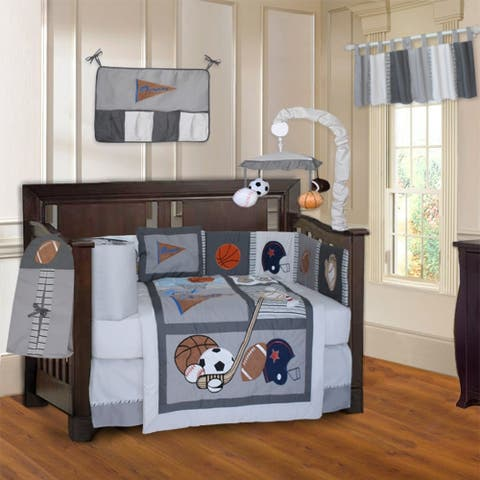 BabyFad Sports Champion Grey 10-Piece Crib Bedding set