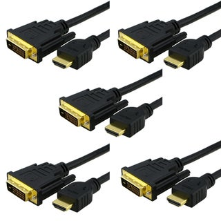 INSTEN Black 10-foot 5-piece HDMI-DVI Cable Set