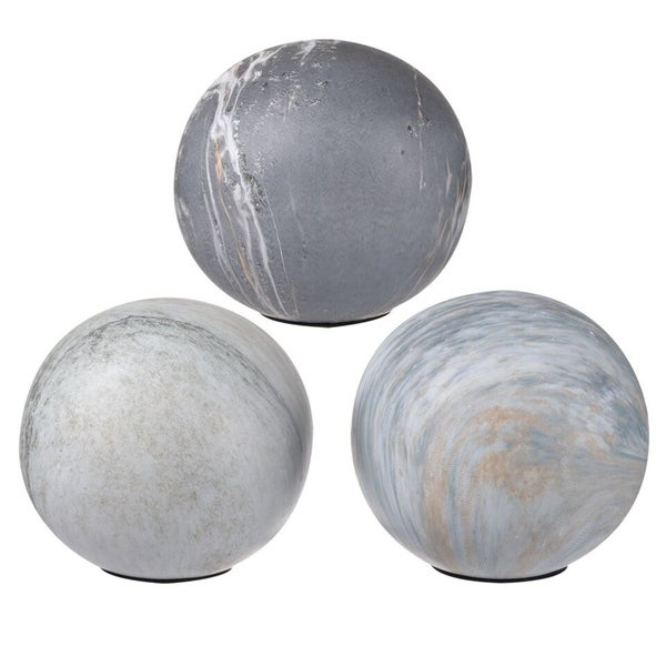 Shop Ceramic Decorative Balls With Flat Bottom Set Of 3 Gray
