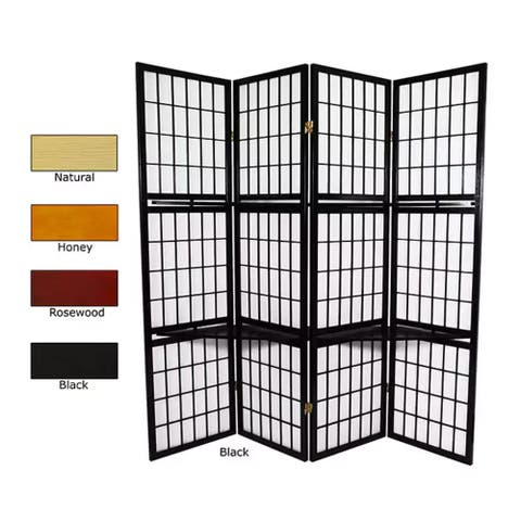 Handmade Wood and Rice Paper Window Pane with Shelf Room Divider