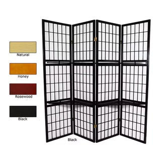 Handmade Wood and Rice Paper 4-panel Window Pane with Shelf Room Divider (China)