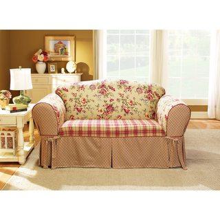 Sure Fit Lexington Tan Cotton Washable Sofa Slipcover