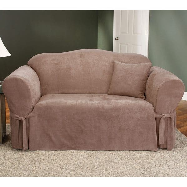 Magnificent Shop Sure Fit Smooth Suede Washable Loveseat Slipcover Gmtry Best Dining Table And Chair Ideas Images Gmtryco