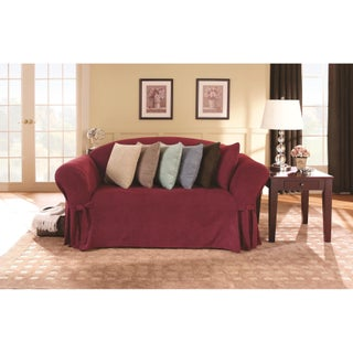 Sure Fit Smooth Suede Washable Loveseat Slipcover (Option: Burgundy)