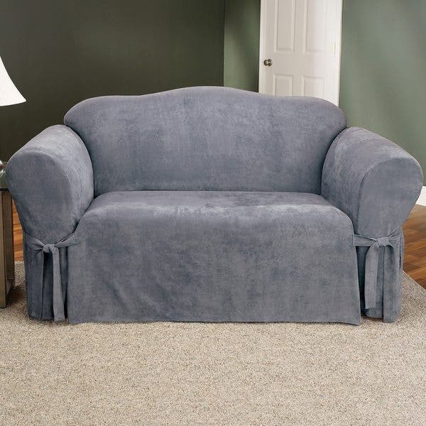 Pleasing Shop Sure Fit Smooth Suede Washable Loveseat Slipcover Dailytribune Chair Design For Home Dailytribuneorg