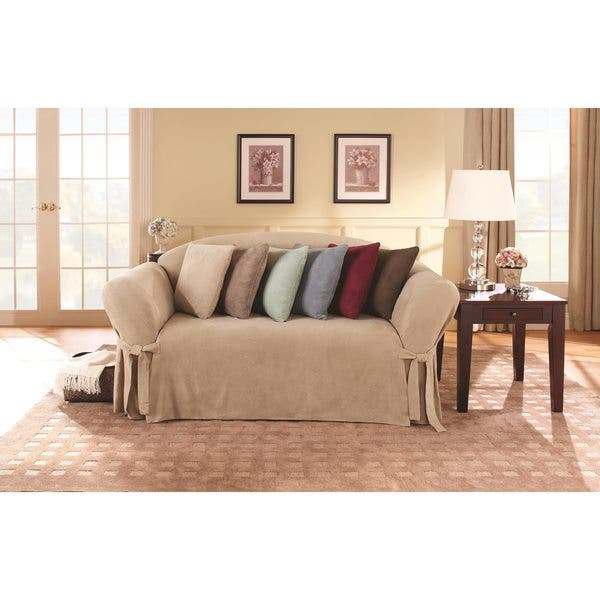 Astounding Shop Sure Fit Smooth Suede Washable Loveseat Slipcover Dailytribune Chair Design For Home Dailytribuneorg