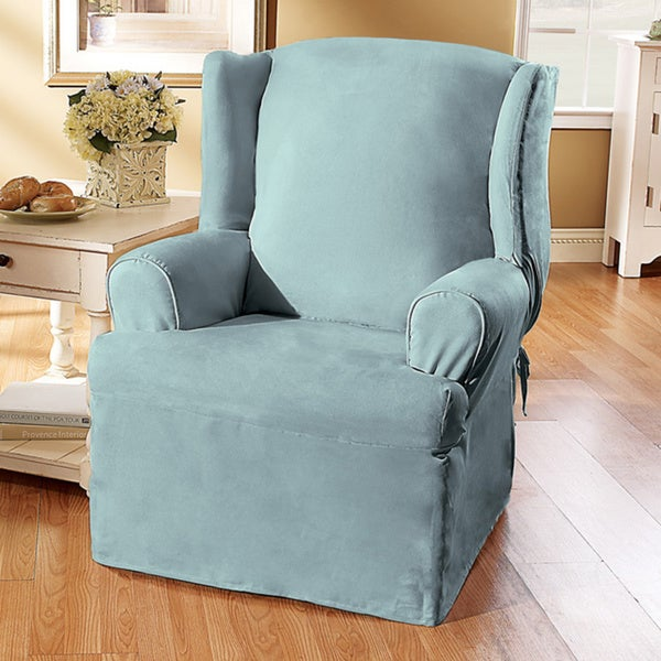 sure fit smooth suede wing chair slipcover free shipping