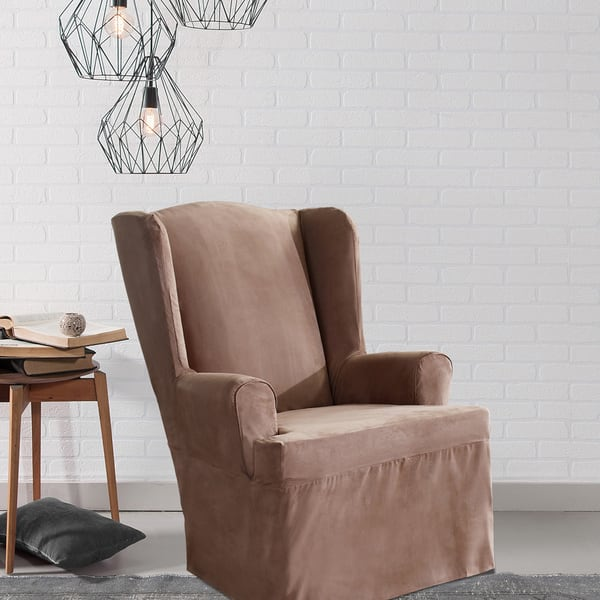 Wondrous Shop Sure Fit Smooth Suede Wing Chair Slipcover Free Gmtry Best Dining Table And Chair Ideas Images Gmtryco