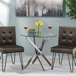 Kiara Contemporary Stainless Steel Bistro Dining Table With Tempered Glass Top by Christopher Knight Home - CLEAR