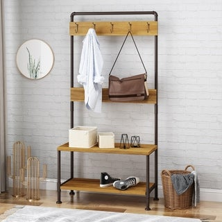 Tallulah Indoor Industrial Acacia Wood Bench with Shelf and Coat Hooks by Christopher Knight Home