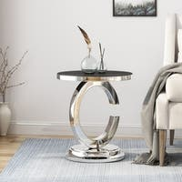 Colbee Contemporary Stainless Steel Accent Table With Tempered Glass Top by Christopher Knight Home