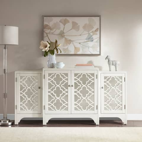 Madison Park Nevaeh Cream Dining Buffet Server Quatrefoil Design With Mirrored Doors