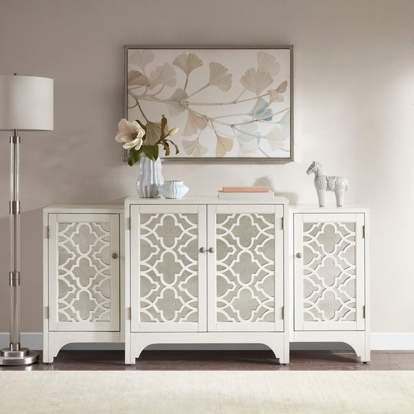 Superb Madison Park Nevaeh Cream Dining Buffet Server Quaterfoil Design Kitchen  Storage Cabinet With Mirrored Doors